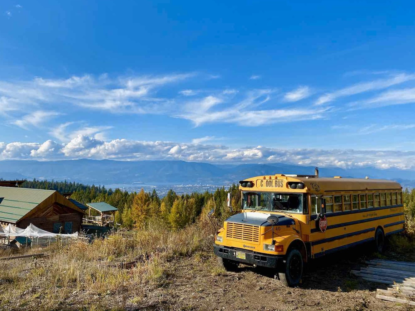 School Bus Above Kelowna